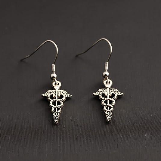 TGBJE Nurse Hat Heartbeat EKG Dangle Earrings RN Caduceus Dangle Earrings Medical Themed Gifts for Doctor Nurse