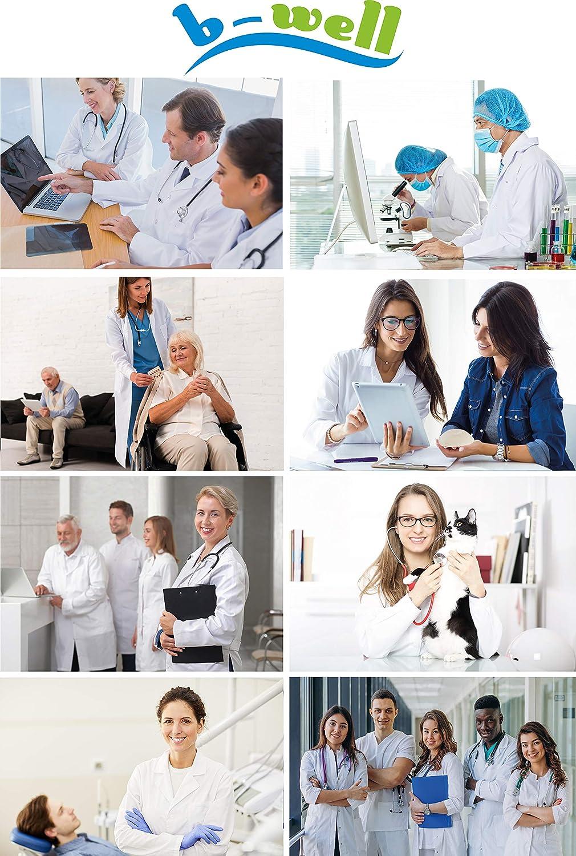 B-well Bianca Bata Laboratorio Mujer Bianca Uniformes Sanitarios con Cuello de Solapa Manga Larga EU Sizes 3 Bolsillos y Fijaci/ón Oculta con Botones