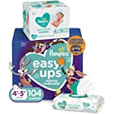 Pampers Easy Ups and Baby Wipes - Space Jam Prints, Disposable Potty Training Underwear for Girls and Boys, Size 6 (4T-5T), O
