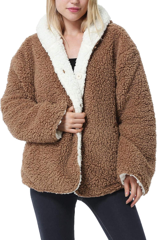 Winter Women  Teddy Bear Jumper Fluffy Coat Fleece Sweater Hooded Pullover Tops
