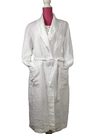 Unisex Pure French Linen Robe with Shawl Collar 4de5adc28