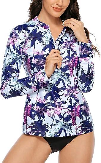 ATTRACO Womens Rashguard Swimsuit Zip Front Sun Protection Swim Shirt UPF 50+