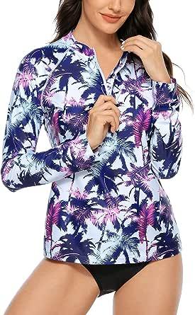 ATTRACO Women's Rashguard Swimsuit Zip Front Sun ...