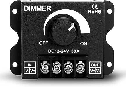 LED Dimmer DC 12V-24V Lighting Dimming Controller 30A 12 ...