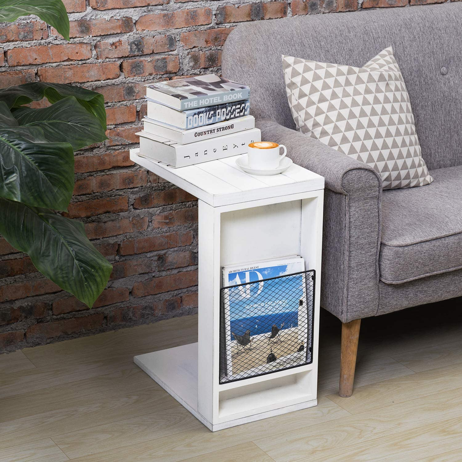 MyGift Vintage White Slatted Boards Style C-Table/Side Sofa Table with Rustic Metal Wire Magazine Holder Slot: Furniture & Decor