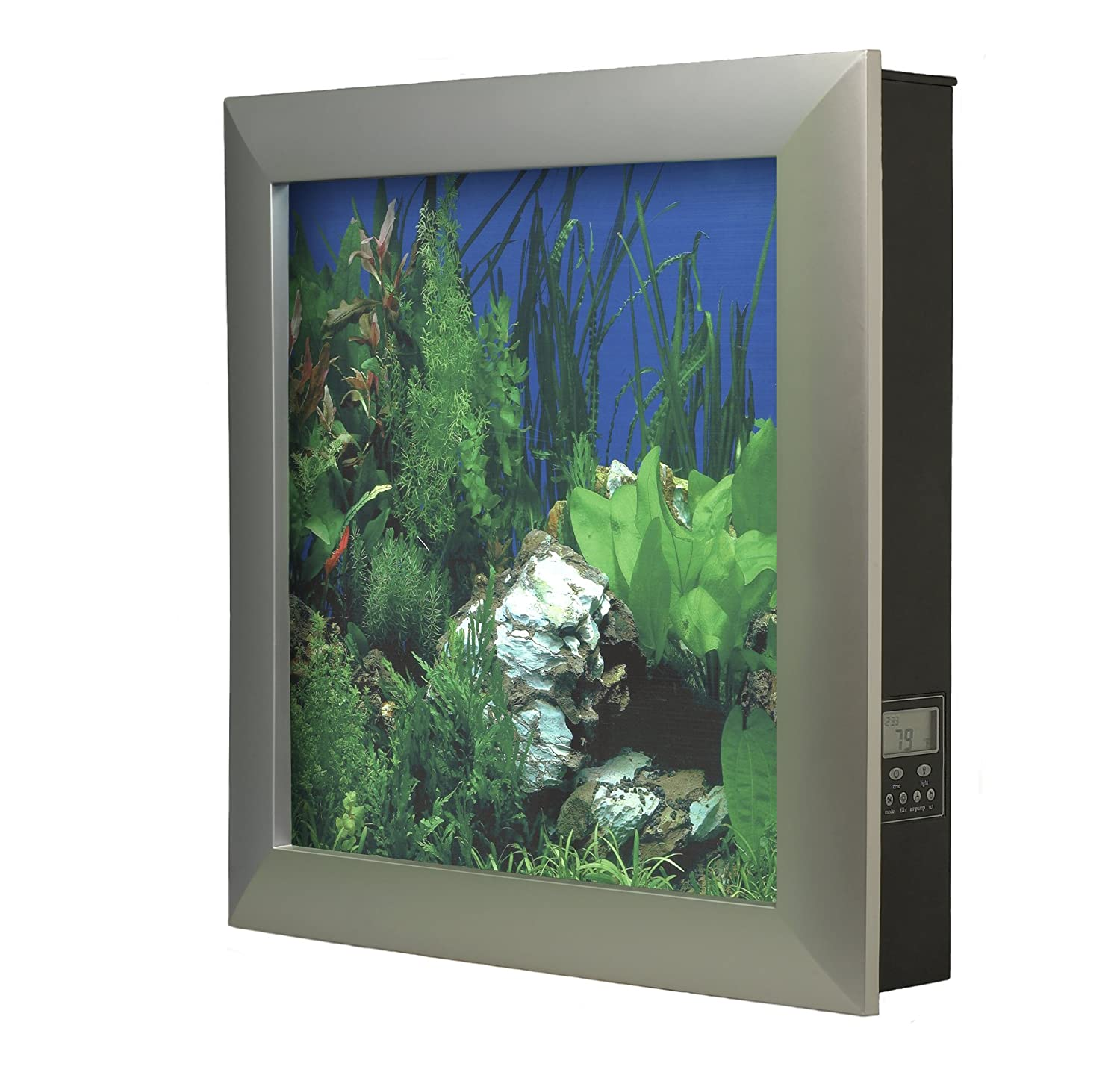 Amazon aquavista 500 wall mounted aquarium with whitestone amazon aquavista 500 wall mounted aquarium with whitestone background black frame home decor wall art pet supplies jeuxipadfo Images