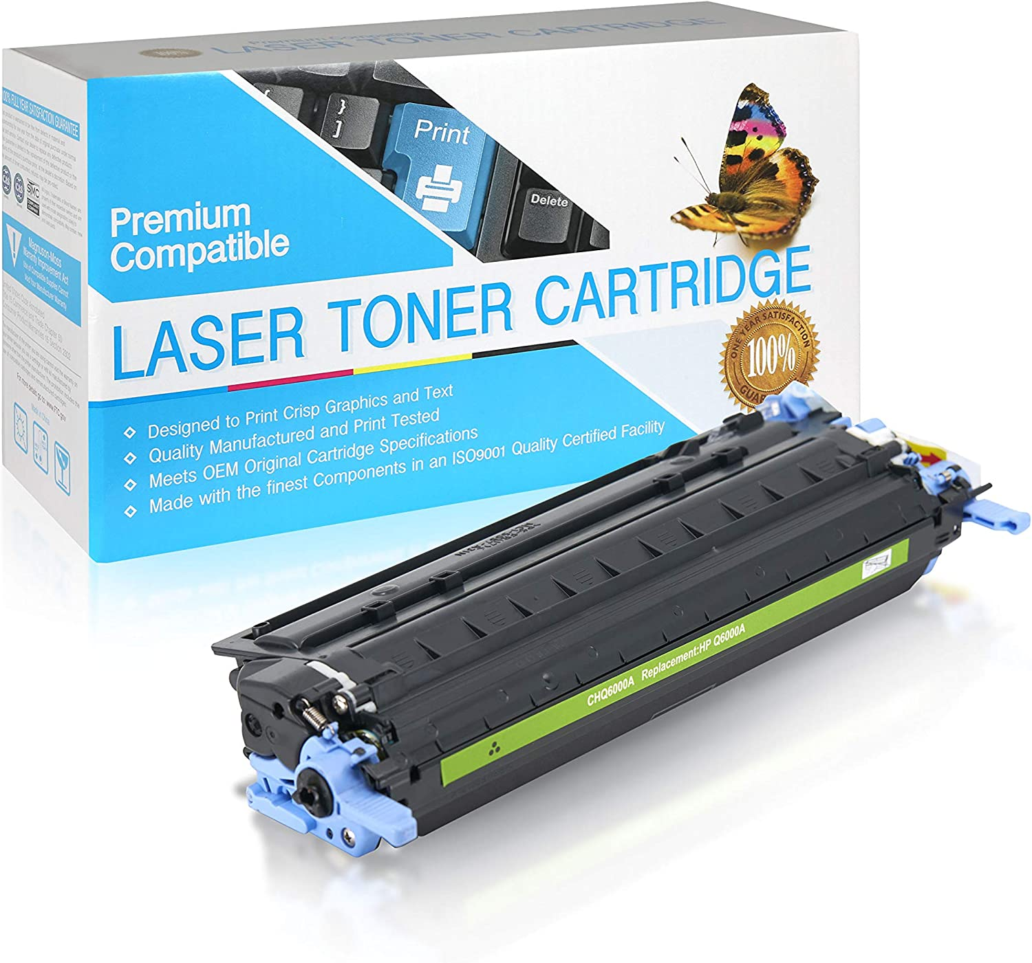 SuppliesOutlet Compatible Toner Cartridge Replacement for HP 124A / Q6000A (Black,1 Pack)