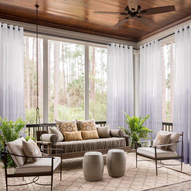 ChadMade Indoor Outdoor Gradient Ombre Sheer Curtain Nickel Grommet Light Purple 84'' W X 96'' L Tulle Gradual Drapes (1 Panel)