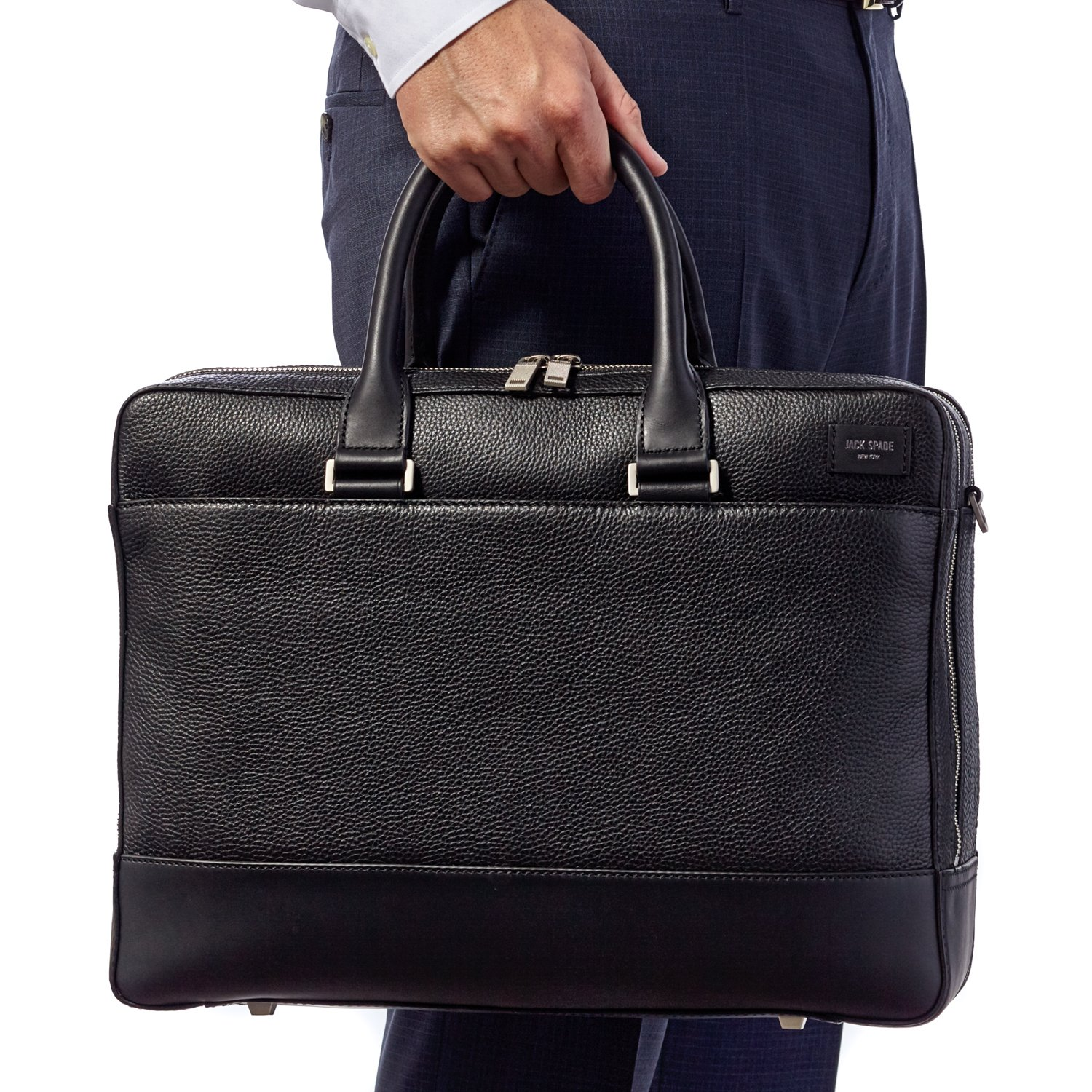 Jack Spade Pebble Leather Overnight Briefcase Travel Bag, Fits 15'' Laptop, Black by Jack Spade