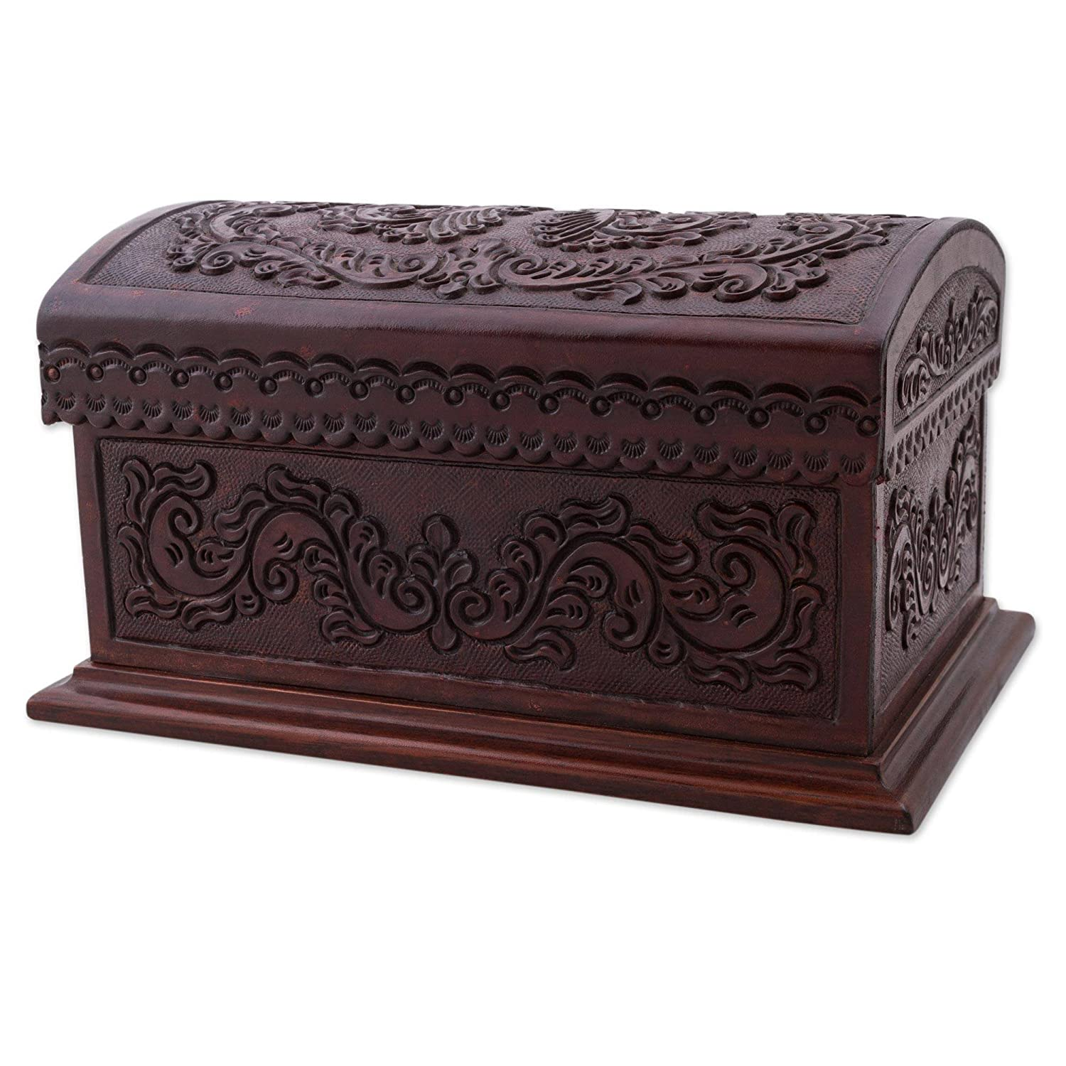 Novica 273210 Classic Inspiration Leather Wood Chest