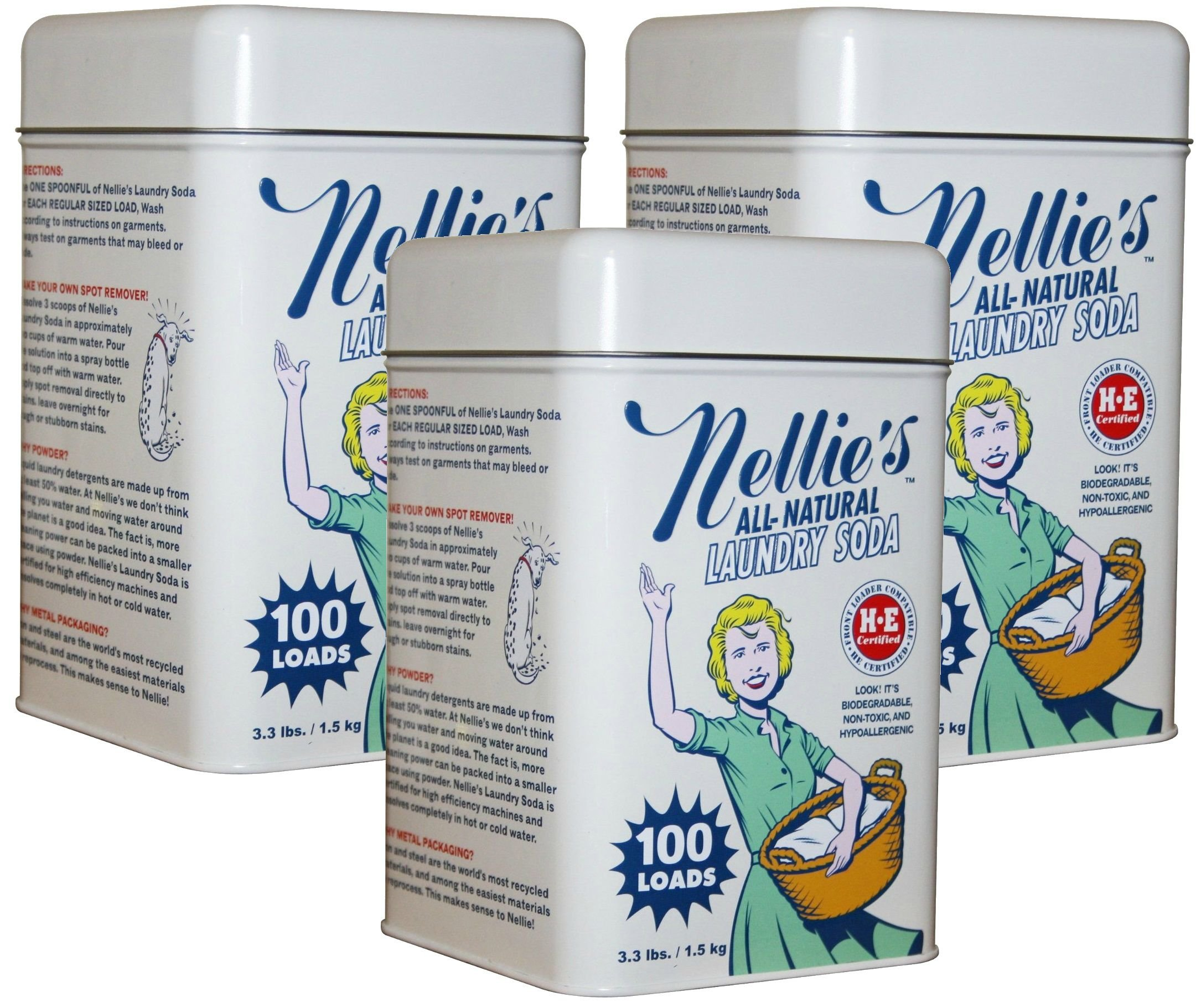 Nellies All Natural Powder Laundry Detergent Soda, 100 Load Tin 3 Pack Non Toxic, Biodegradable, Hypoallergenic, Vegan, Leaping Bunny Certified