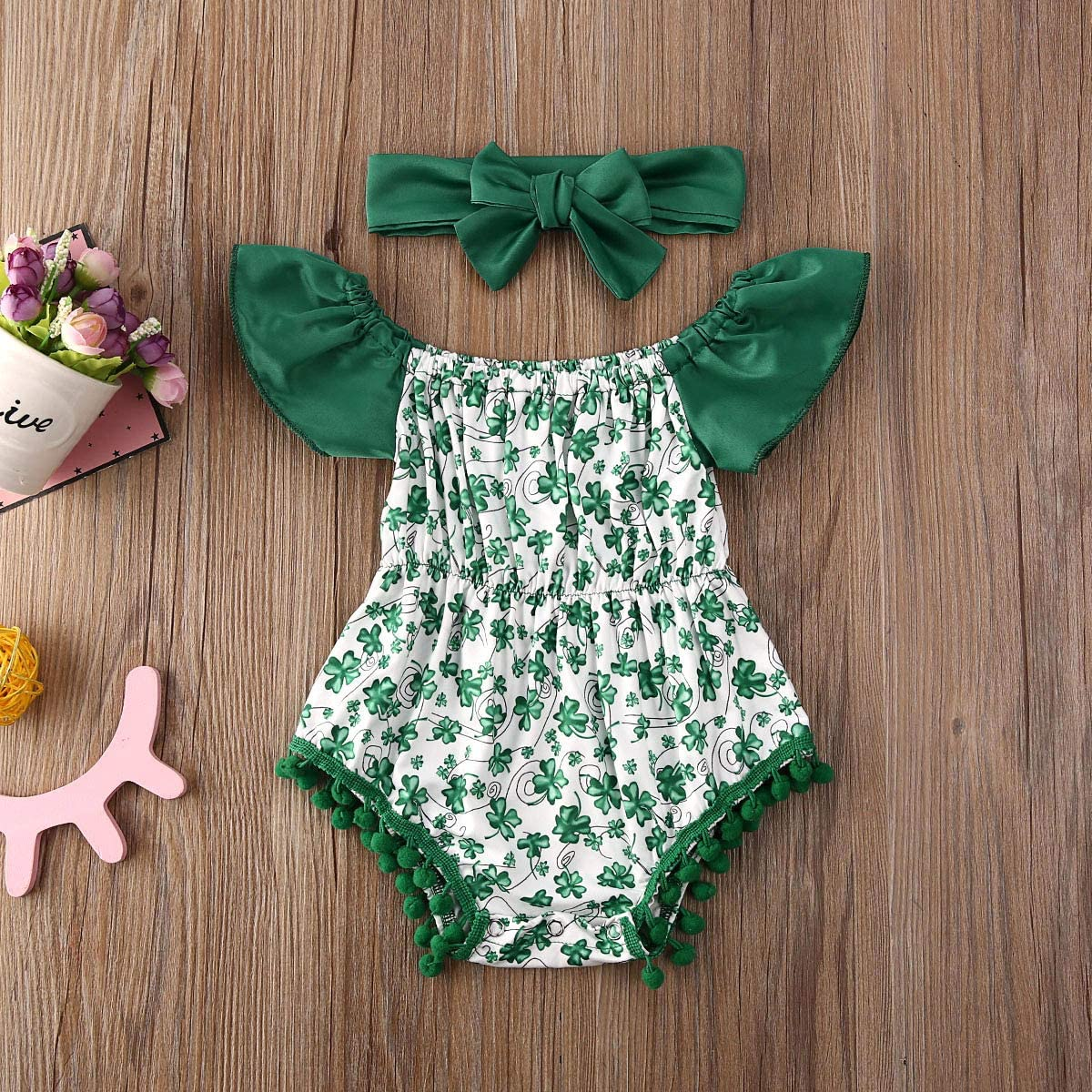 Patricks Day Outfits Infant Kids Four Leaf Clover Printed Romper Ruffle Shorts 2pcs Clothes Set waterluo Baby Girls St