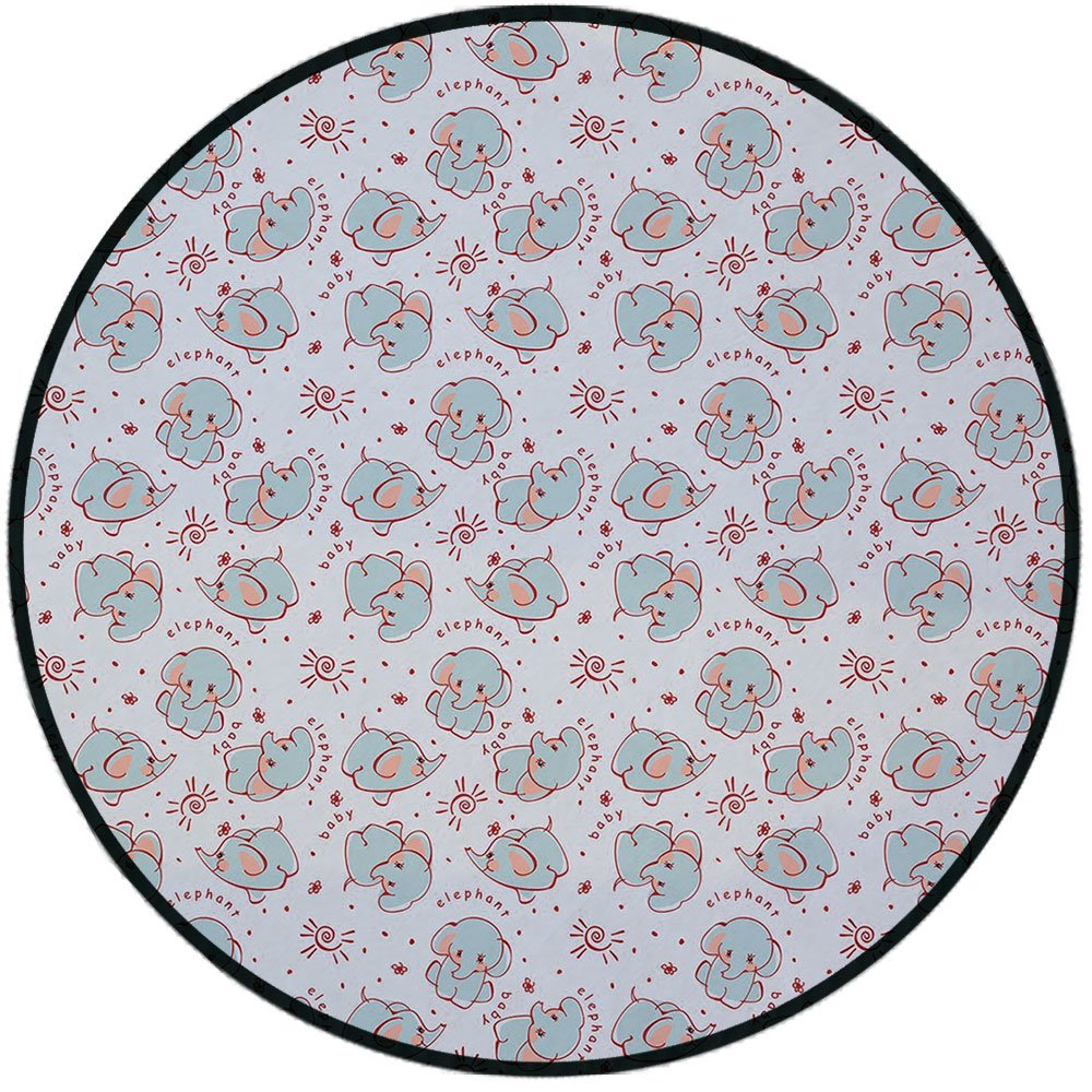 Printing Round Rug,Elephant Nursery Decor,Young Wild Animals Pattern for Children Elephant Calves Mat Non-Slip Soft Entrance Mat Door Floor Rug Area Rug For Chair Living Room,Baby Blue Red Coral