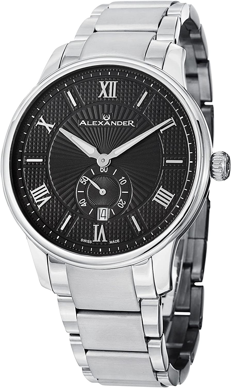 Alexander Statesman Regalia Men s Black Dial Stainless Steel Swiss Made Watch A102B-02