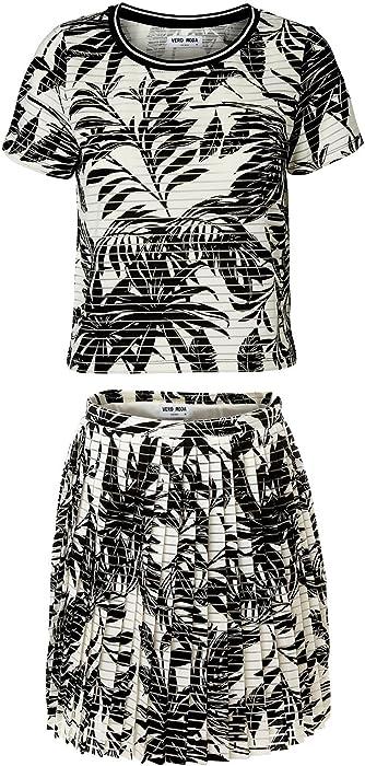 69706b8f92 Vero Moda, Monochrome Palm Print Co-Ord Set, Pleated Skirt & Short Sleeve  Top, Black & White, Size 14