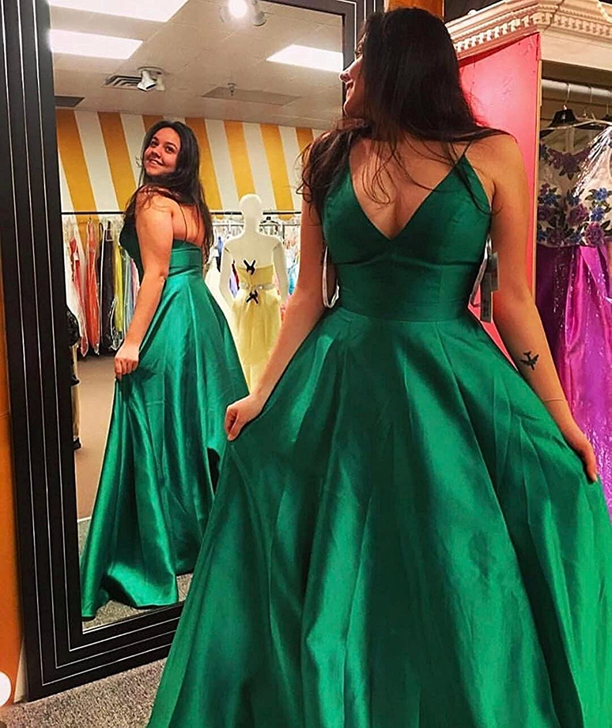 a5668af920 Little Star Women s Long Satin Prom Dresses 2019 V Neck Evening Gown A Line  at Amazon Women s Clothing store