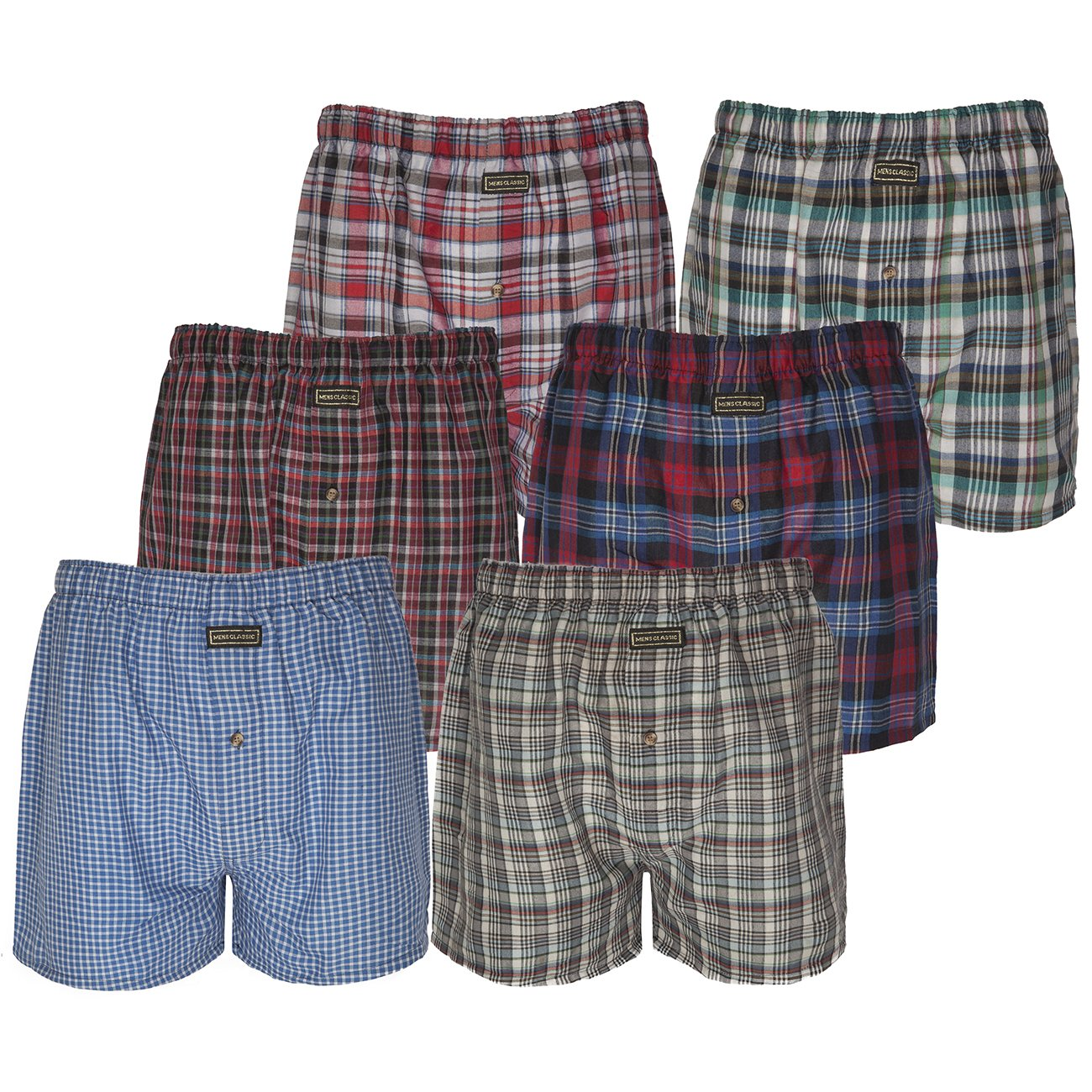 3 //6// 9 mens woven check boxer shorts cotton rich underwear breifs short trunks