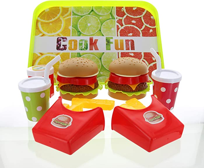 GiftExpress Double Cheeseburger - Hamburger Fast Food Pretend Play Set Cooking Play Toy for Kids with 2 Burger, 2 Fries, 2 Coke, Ketchup, and a Tray – Cheeseburger Kids Meal for 2