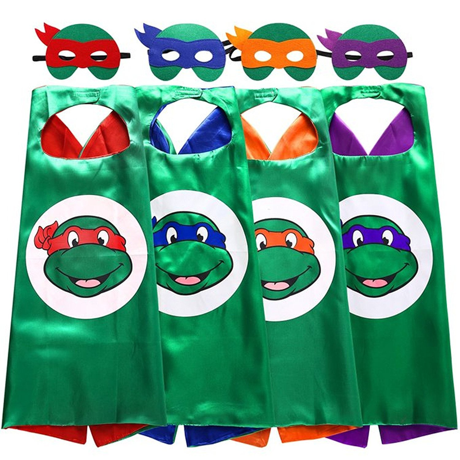 Sspent Superhero TMNT Cartoon Costume 4 Thermal Pransfer Satin Cape with Felt Mask