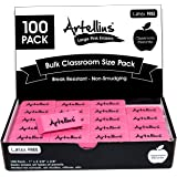 Pink Erasers Pack of 100 - Large Size, Latex & Smudge Free - Bulk School Supplies for Classrooms, Teachers, Homeschool, Office, Art Class, and More!