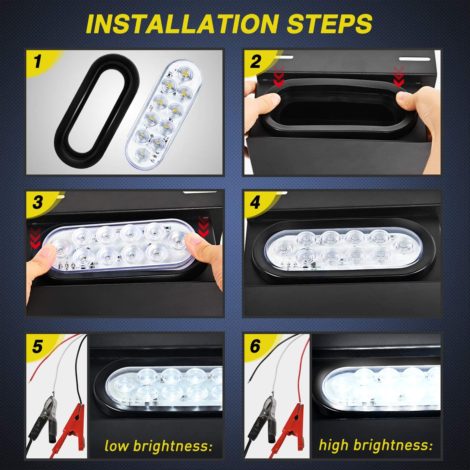 2 Years Warranty Nilight 6 Oval White LED Trailer Tail Lights 4PCS 10 LED w//Flush Mount Grommets Plugs Reverse//Back Up Trailer Lights for RV Truck Jeep