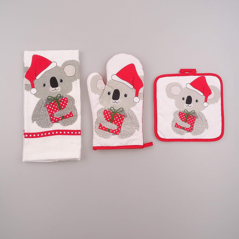 Red-White Color Oven Mitt Towel Set of 3 Includes Pot Holder Century Crystal Koala Designed Kitchen Linens