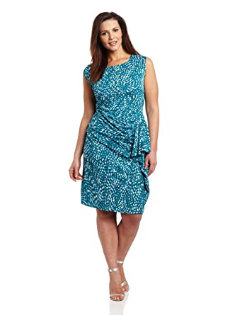 Jones New York Women\'s Plus-Size Extended Shoulder Ruffle Dress ...