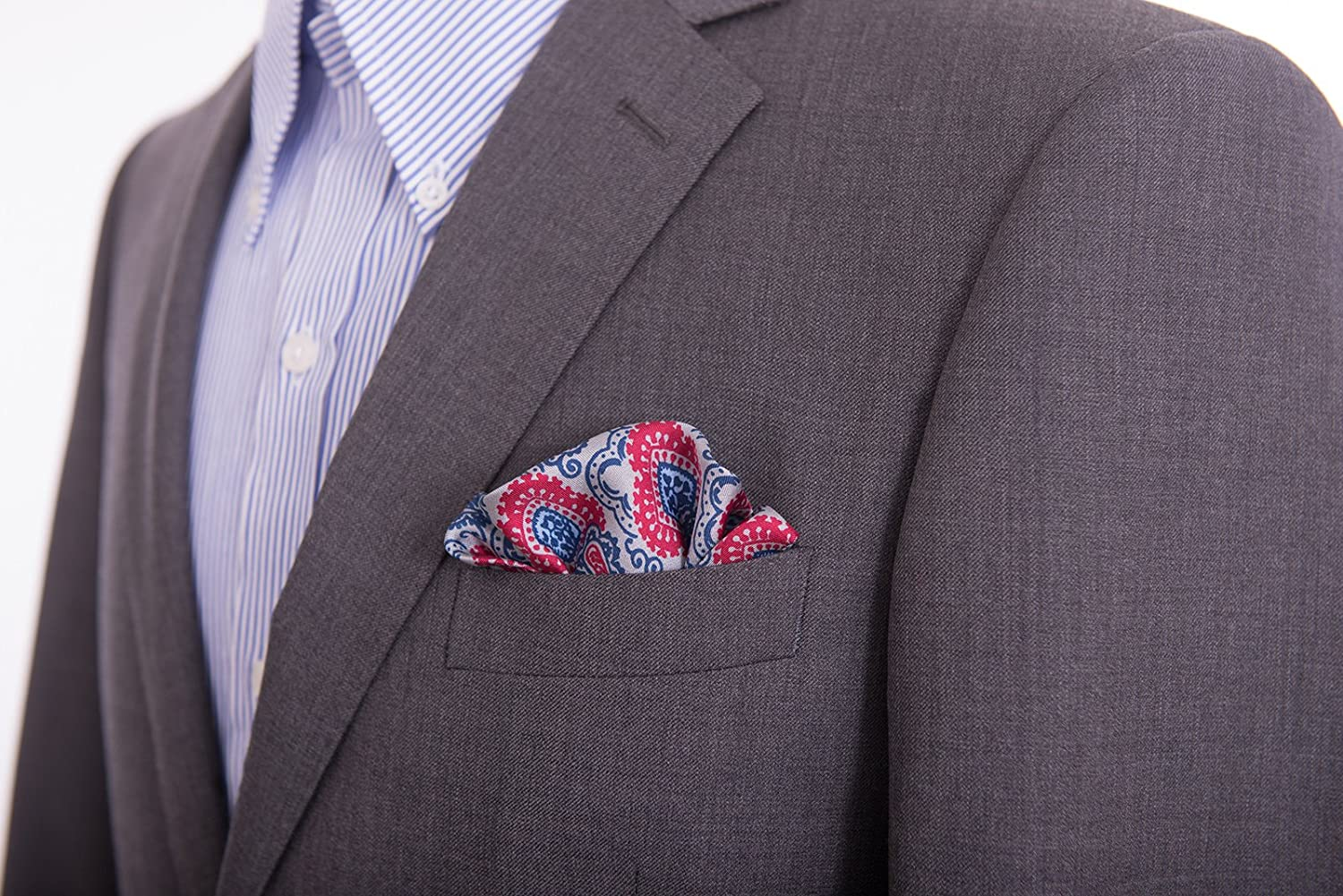 Kiton Gray With Blue /& Red Paisley Silk Pocket Square Handmade In Italy