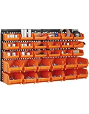 VonHaus 30 Pcs Wall Mount Storage Organiser Bin Panel Rack - DIY Tool Bits Boxes