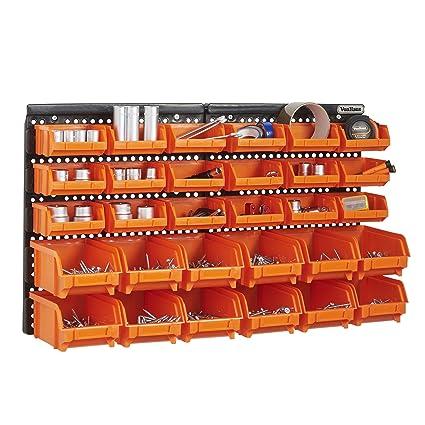 Vonhaus 30 Pcs Wall Mount Storage Organiser Bin Panel Rack Diy Tool Bits Boxes