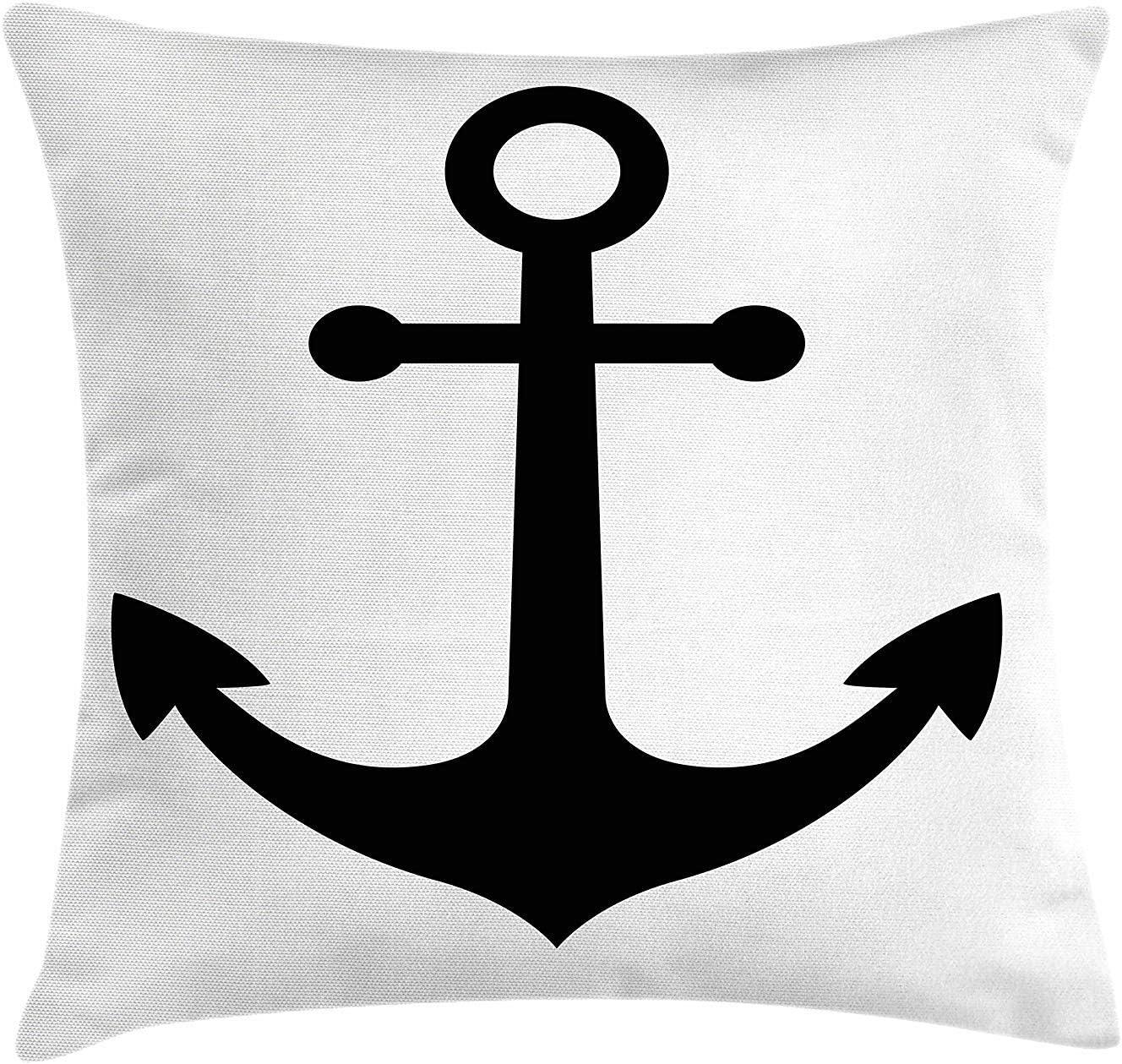Cojín de Ancla, símbolo náutico, Negro, Silueta, señal Naval, velero marítimo, océano, Vida Marina, Almohada ...