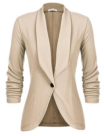 a7f6c1738 Beyove Women's 3/4 Sleeve Lightweight Open Front Wear to Work Blazer Jacket  Khaki S