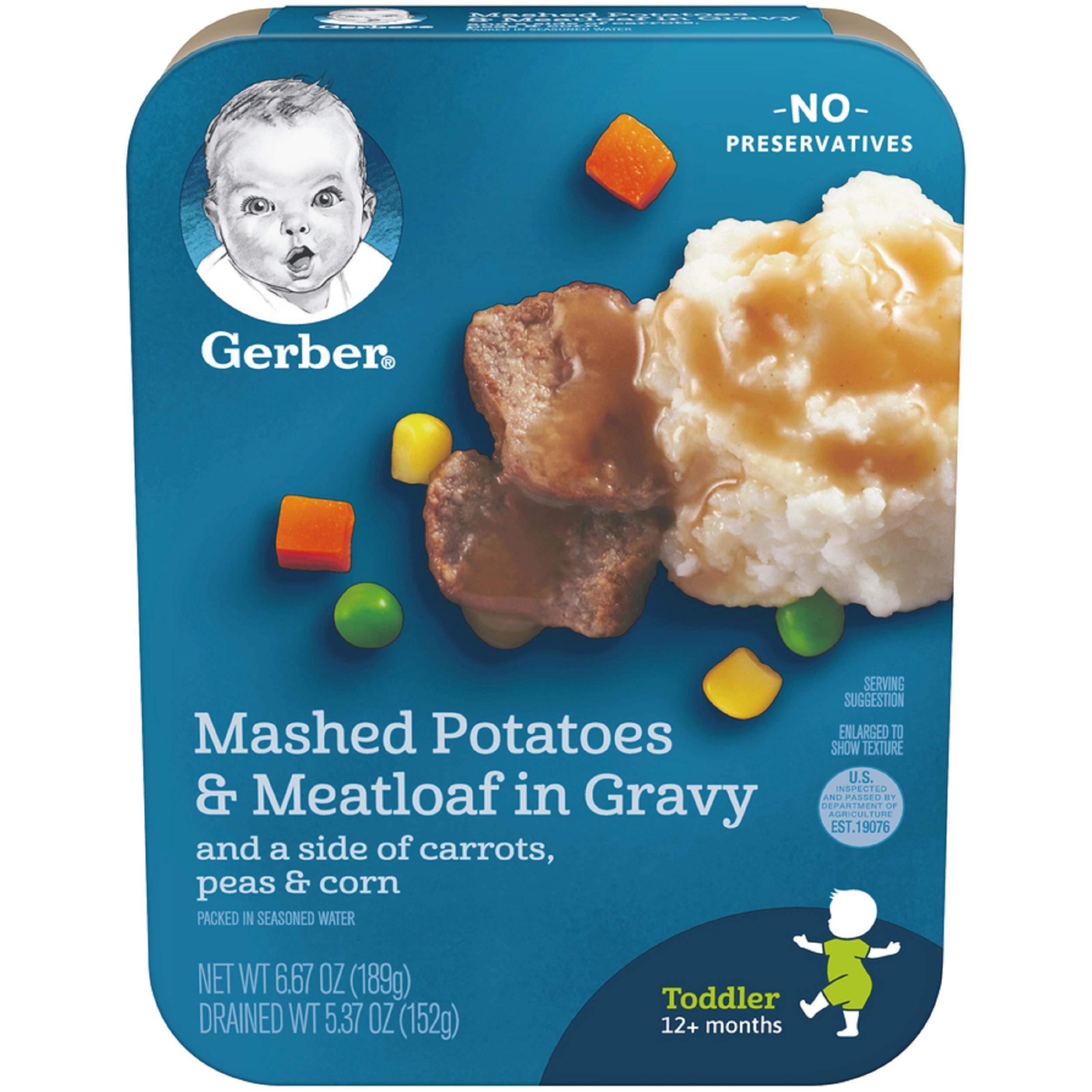 Gerber Graduates Lil Entrees Mashed Potatoes with Meatloaf Nuggets, 6.67 oz.,  8 Count by Gerber