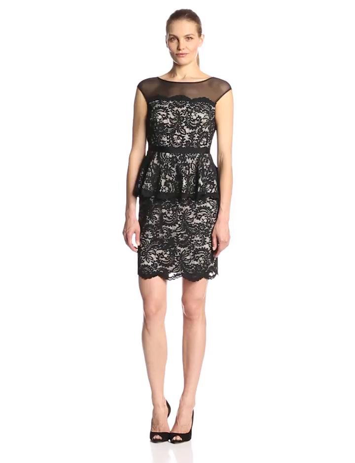 Eliza J Women's Sleeveless Illusion Lace Peplum Dress, Black, 6