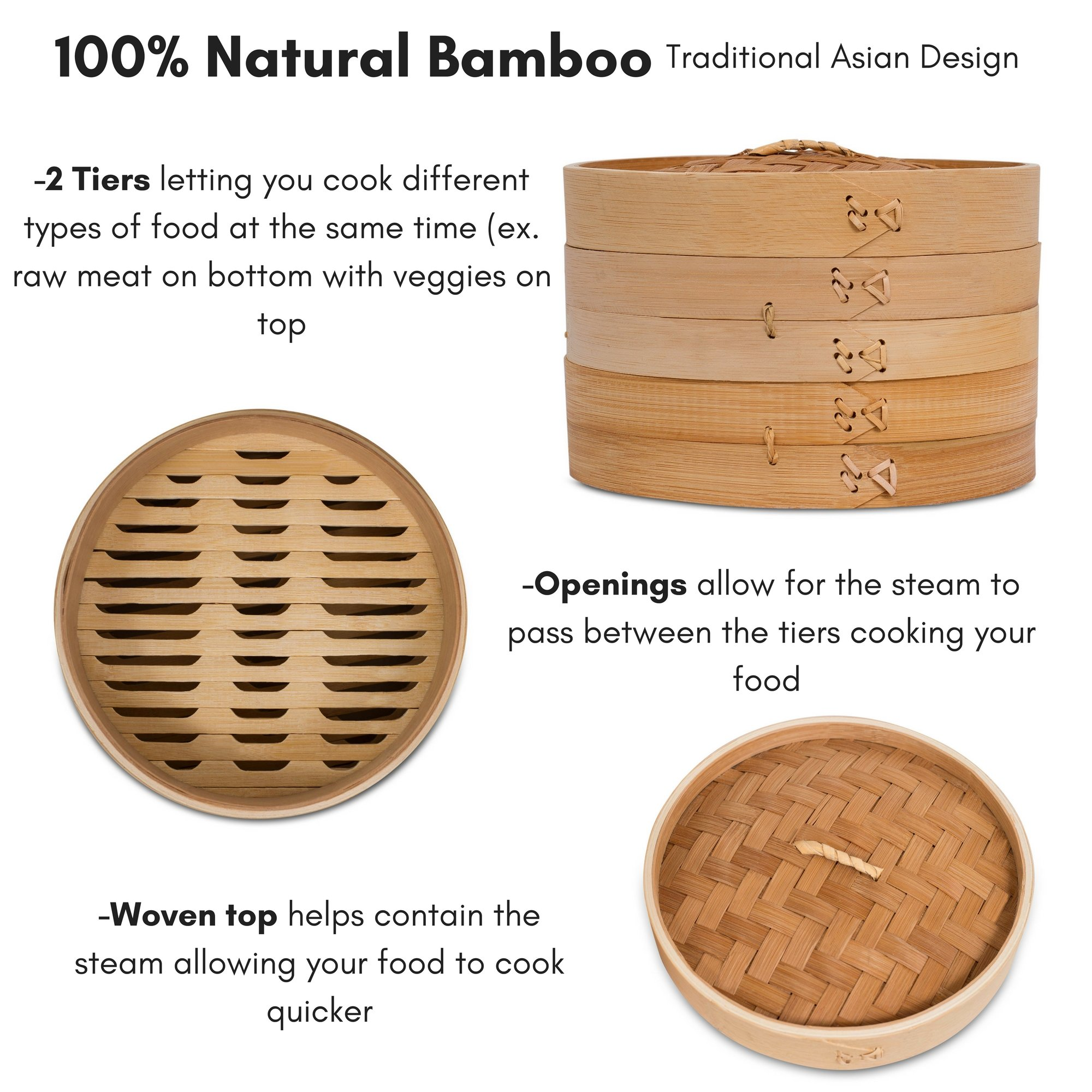BirdRock Home 10 Inch Bamboo Steamer | Classic Traditional Design | Healthy Cooking | Great for dumplings, vegetables, chicken, fish | Steam Basket | Natural by BirdRock Home (Image #6)