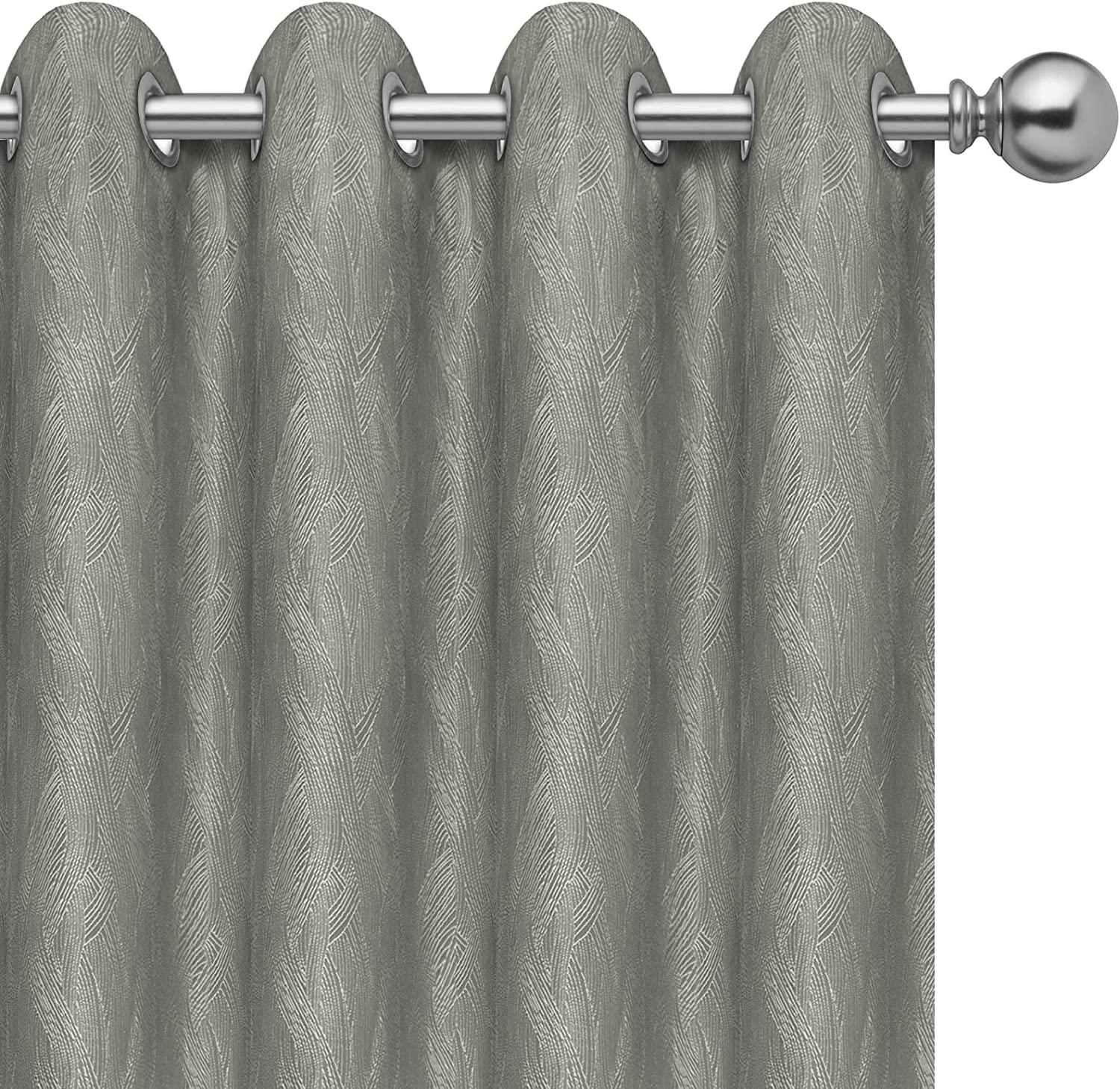 PureFit Jacquard Blackout Curtains for Bedroom, Room Darkening Thermal Insulated Grommet Window Curtains for Living Room with Thermal Liner, Gray, 52 x 84 inch Length, Set of 2 Curtain Panels