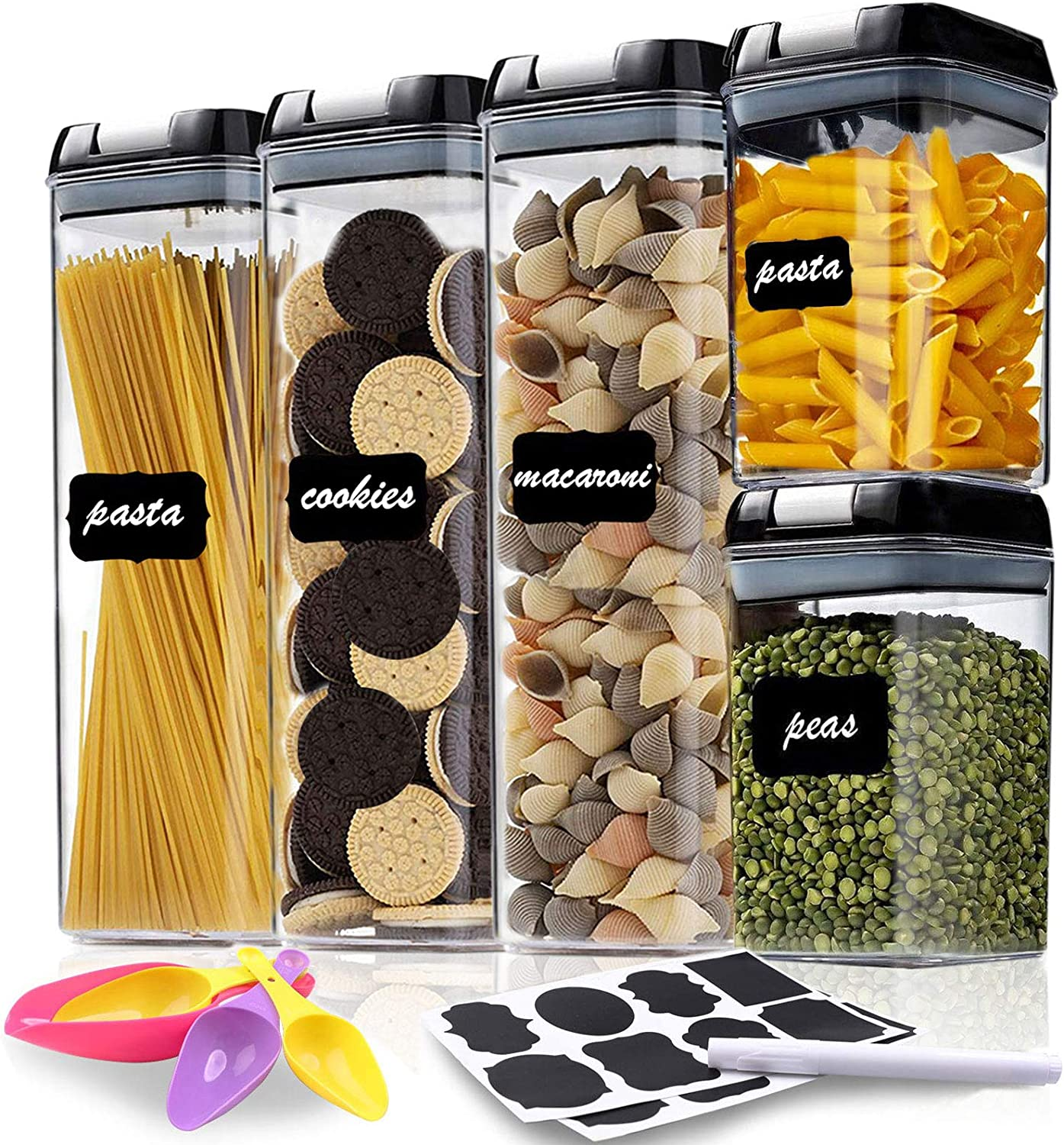Airtight Food Storage Containers, 5 Pieces Plastic Cereal Containers with Lock Lids, BPA Free Kitchen Pantry Organization Containers Great for Flour, Cereal & Sugar - Include Labels and Marker & Spoon