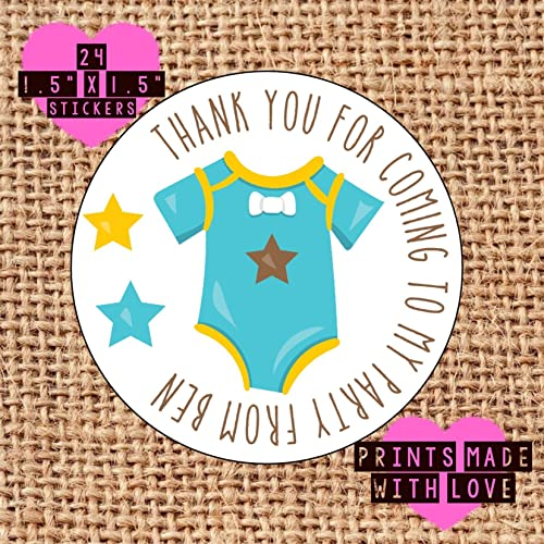24 x personalised birthday boy blue baby grow party bag stickers 1st