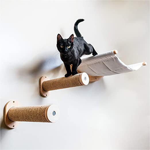 Amazon Com Wall Mounted Cat Hammock With Two Steps Modern Beds And Perches For Cats Premium Kitty Furniture For Sleeping Playing Climbing And Lounging Cat Wall Shelves Kitchen Dining