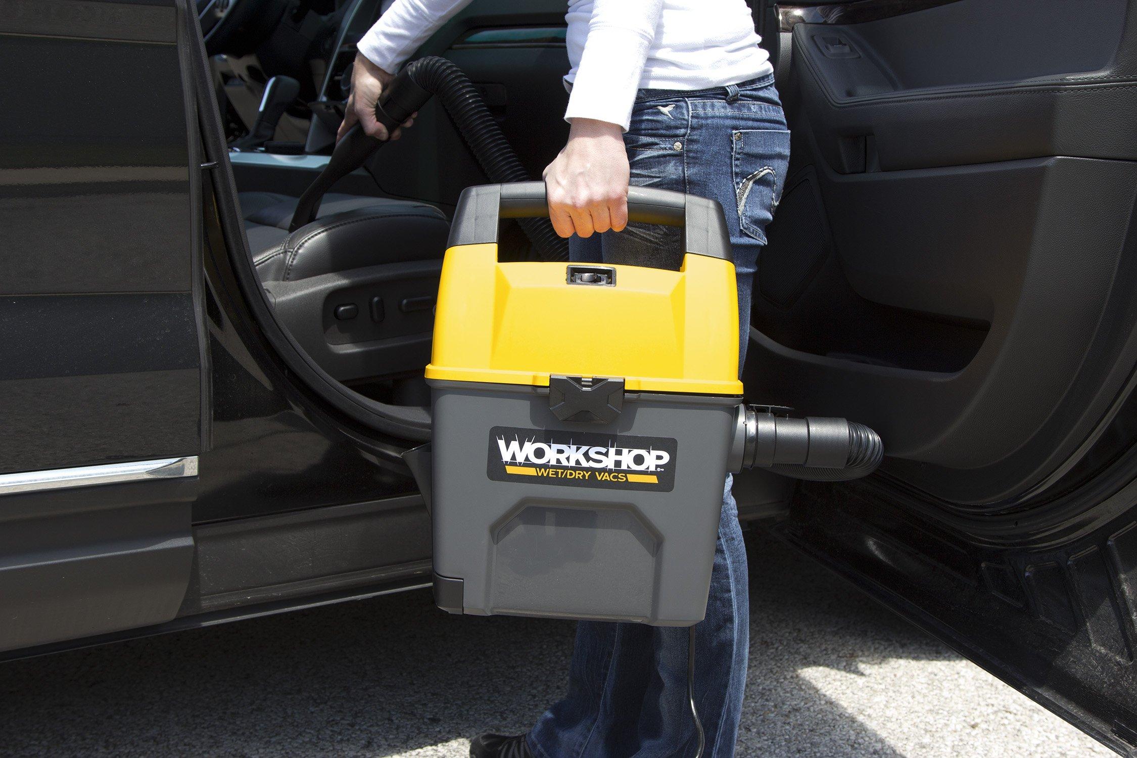 WORKSHOP Wet Dry Vac WS0301VA Portable Wet Dry Vacuum Cleaner For Car, 3-Gallon Wet Dry Auto Vacuum Cleaner, 3.5 Peak HP Portable Auto Vacuum With Accessories For Car Cleaning by WORKSHOP Wet/Dry Vacs (Image #4)
