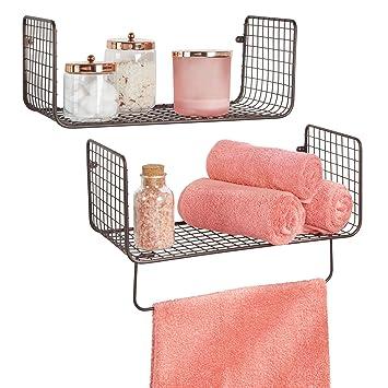 mDesign Juego de 2 estantes de pared - Versátiles estantes de metal para baño, garaje o lavadero - Cestas de rejilla con barra para toallas - color bronce: ...