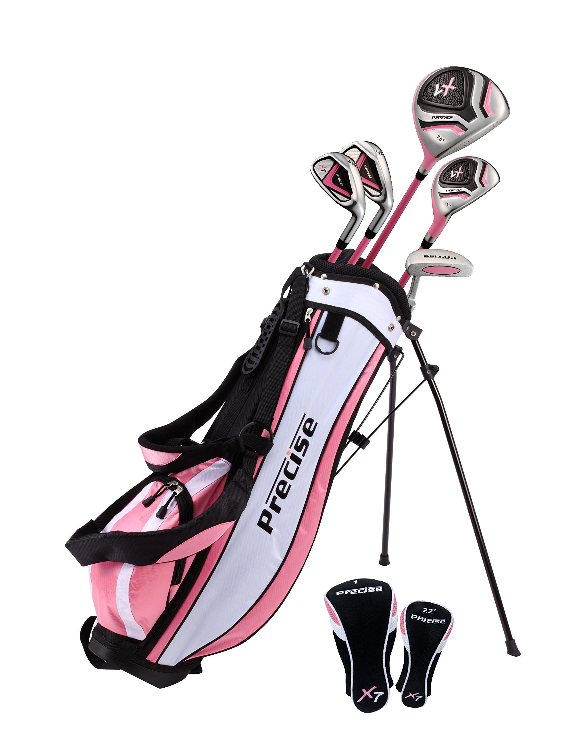 Distinctive Girls Pink Junior Golf Club Set for Age 6 to 8  ( Height 3'8'' to 4'4'' ), Left Handed Only,  Set Includes: Driver, Hybrid Wood, 2 Irons, Putter, Bonus Stand Bag & 2 Headcovers by Precise
