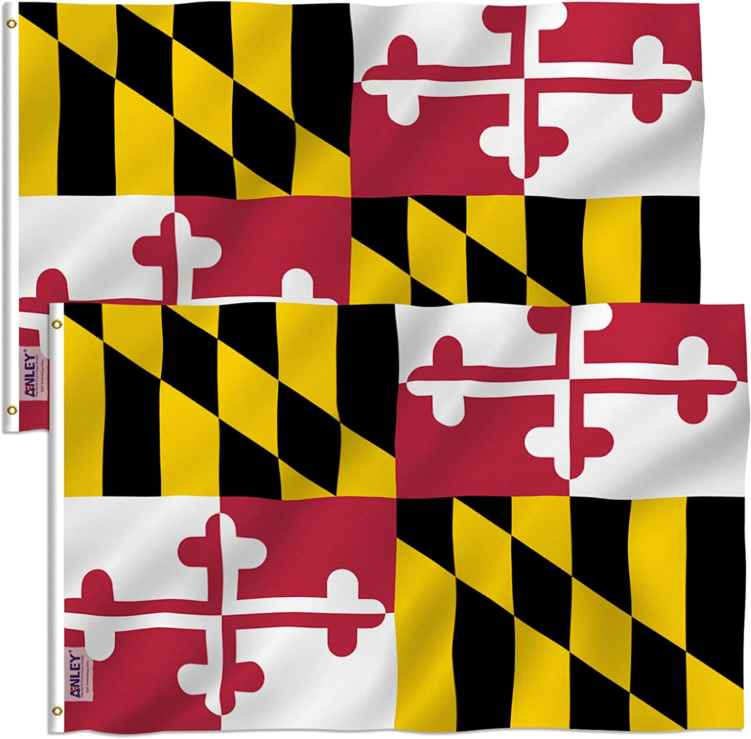 Anley Pack of 2 Fly Breeze 3x5 Foot Maryland State Polyester Flag - Vivid Color and Fade Proof - Canvas Header and Double Stitched - Maryland MD Flags with Brass Grommets 3 X 5 Ft