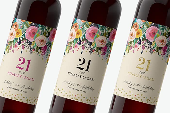 amazon com 21st birthday wine label twenty one and finally legal
