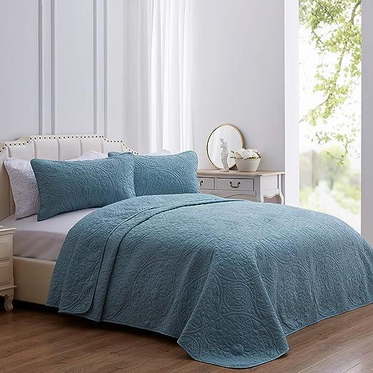 SEMECH King Quilt Set Bedspread Coverlet, Lightweight Quilt Cover Set King Size, Microfiber Stone Blue Quilt Coverlet Set 3 Piece Includes 1 Quilt and 2 Shams