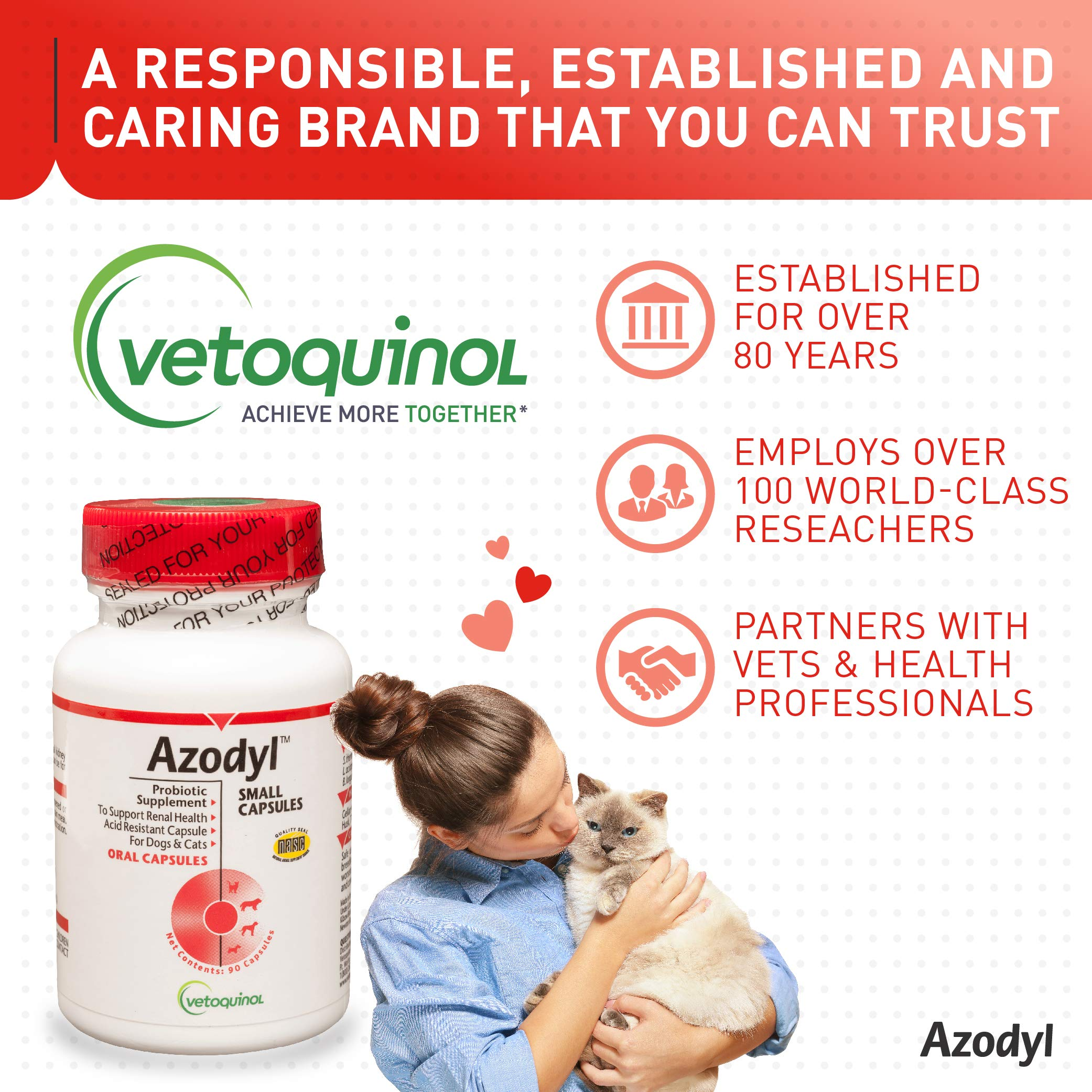 Vetoquinol Azodyl Kidney Health Supplement for Dogs & Cats, 90ct - Probiotic Pet Well-being - Help Support Kidney Function & Manage Renal Toxins - Renal Care Supplement - Easy-to-Swallow Small Caps by Vetoquinol (Image #6)