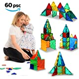 Magnetic Building Tiles - 60 pcs Large Blocks Set - 3D Educational Toys for Boys and Girls - Great for 3+ Years Old Kids - Tiles with Innovative Build Magnets - Great Gift for Children