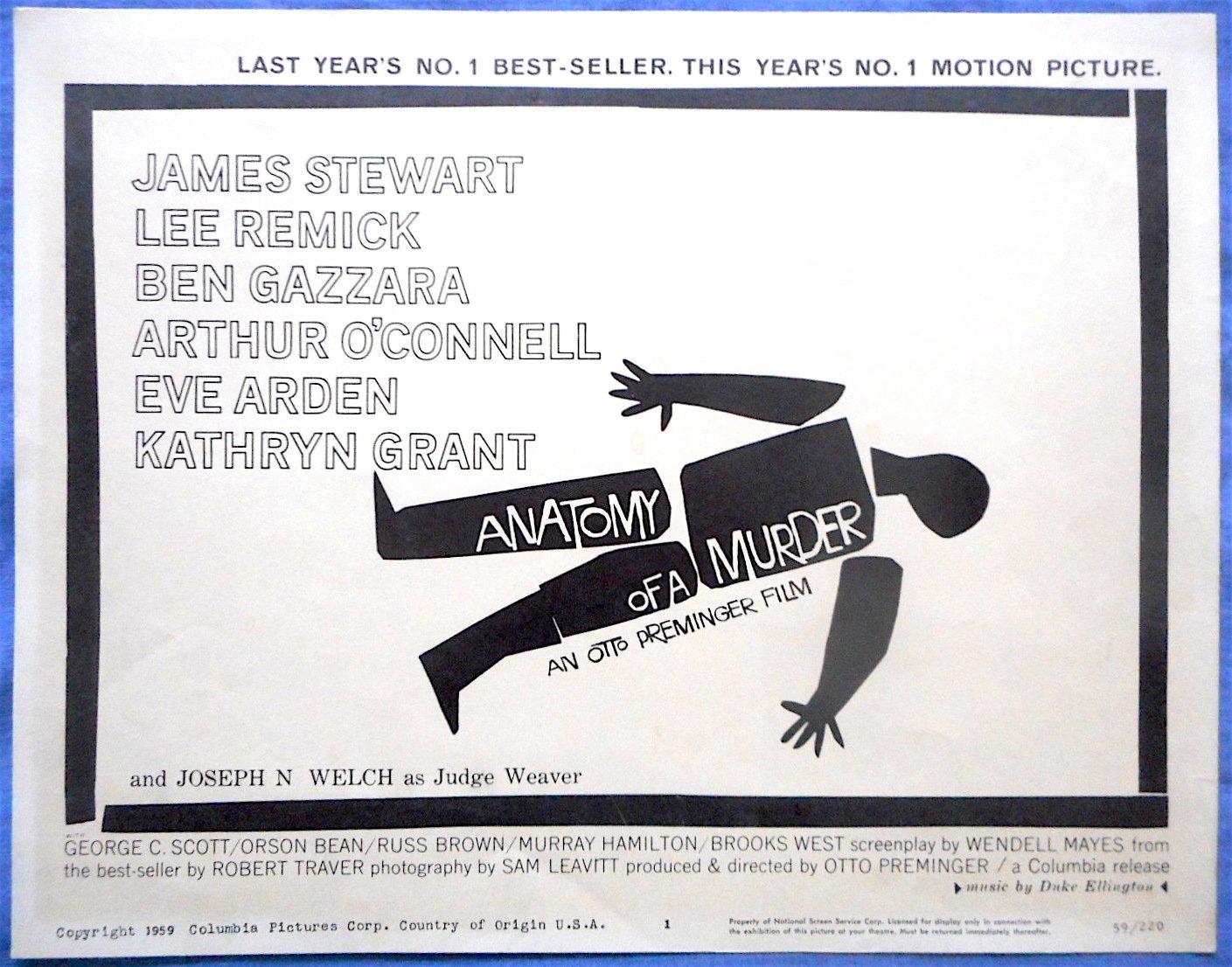 Anatomy Of A Murder James Stewart Saul Bass Art Duke Ellington Set