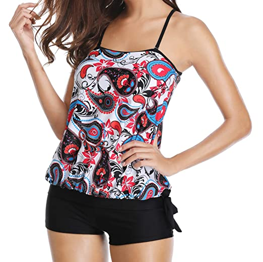 51227bcd995fe Yonique Blouson Tankini Paisley Tribal Printed Tank Top with Boyshort Two  Pieces Swimsuits for Women (