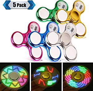 FIGROL LED Fidget Spinner, Clear Fidget Toy, Crystal Led Light Rainbow Toy Finger Hand Spinner-Kids(5 Pack)